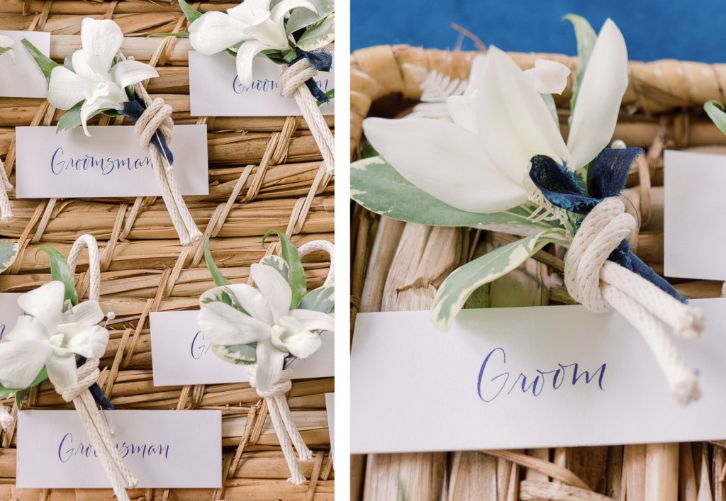 Nautical knot boutonnieres