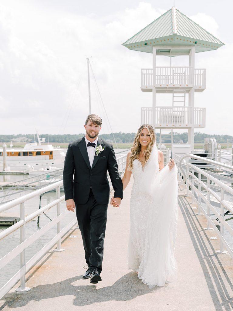 Bride and groom portraits at Savannah Yacht Club